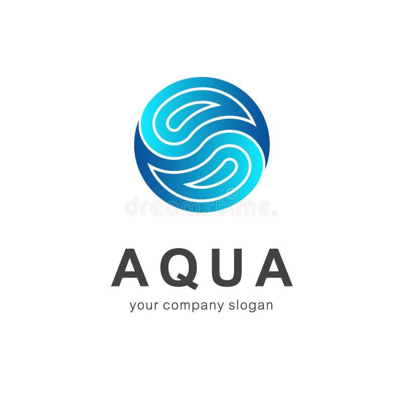 Wektorowy loga szablon aquaculture Czysta woda, zdrój ilustracja wektor