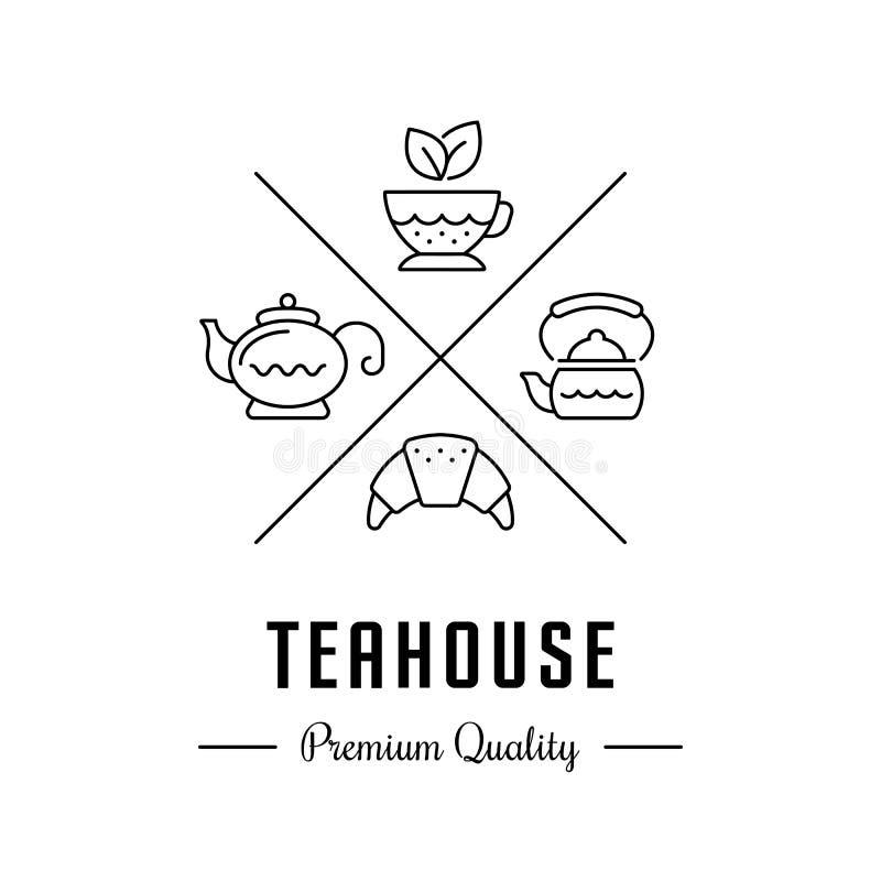 Wektorowy loga Teahouse i herbata sklep ilustracja wektor
