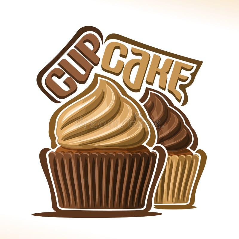 Wektorowy logo dla czekoladowej babeczki royalty ilustracja