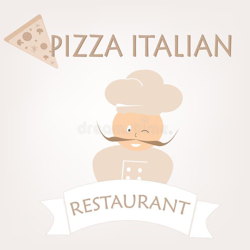 Wektorowy logo dla reklamowego sztandaru dla restauracyjnego szefa kuchni z ital ilustracja wektor