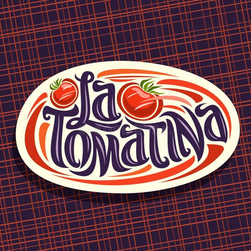 Wektorowy logo dla Tomatina festiwalu royalty ilustracja