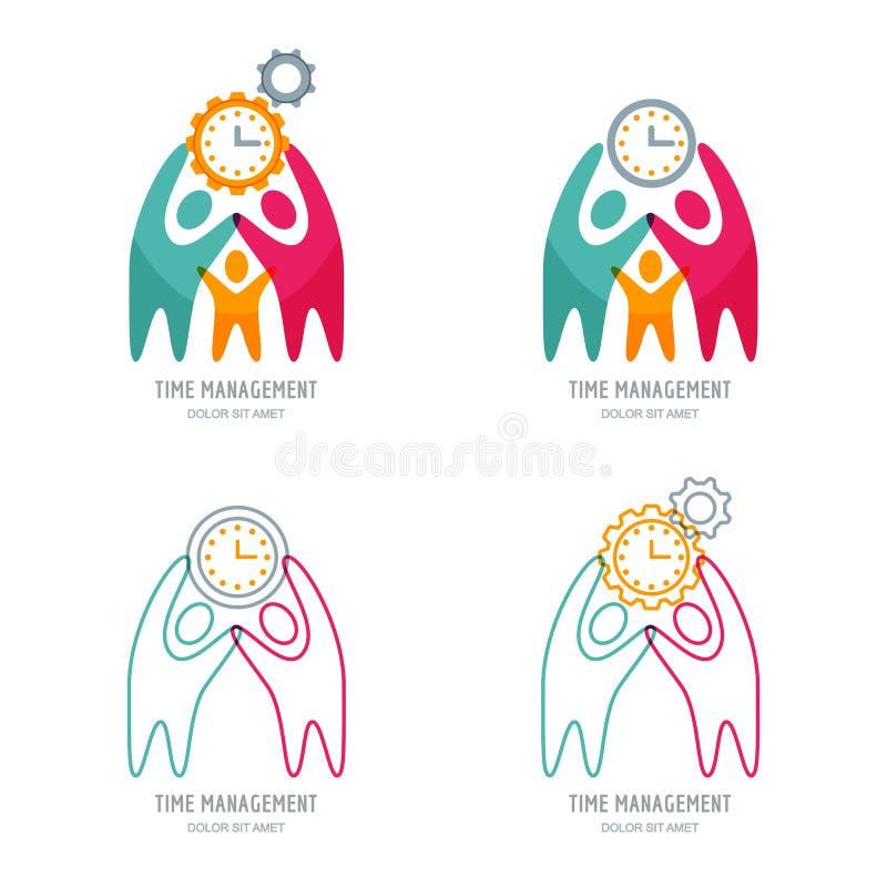 Wektorowy logo lub kreskowe ikony ustawiający z istotą ludzką, cogwheel i zegarem, royalty ilustracja