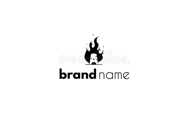 Wektorowy logo na którym jest abstrakcjonistyczny wizerunek płonący wierza royalty ilustracja