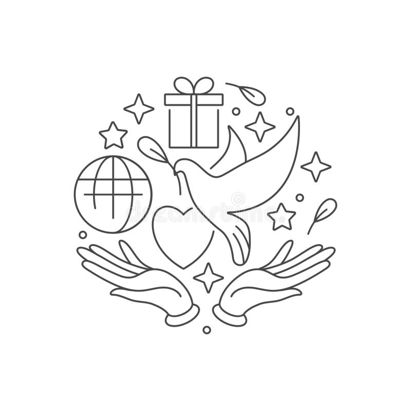Wektorowy logo, odznaka i ikona dla, dobroczynności i wolontariuszów pojęć Filantropijny organizacja znaka projekt Symbol ilustracji