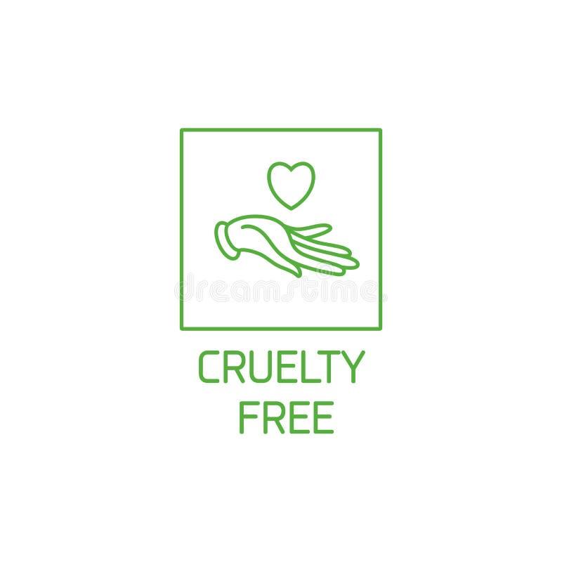 Wektorowy logo, odznaka i ikona dla produktów, naturalnych i organicznie Okrucieństwo bezpłatny szyldowy projekt Symbol okrucieńs ilustracja wektor