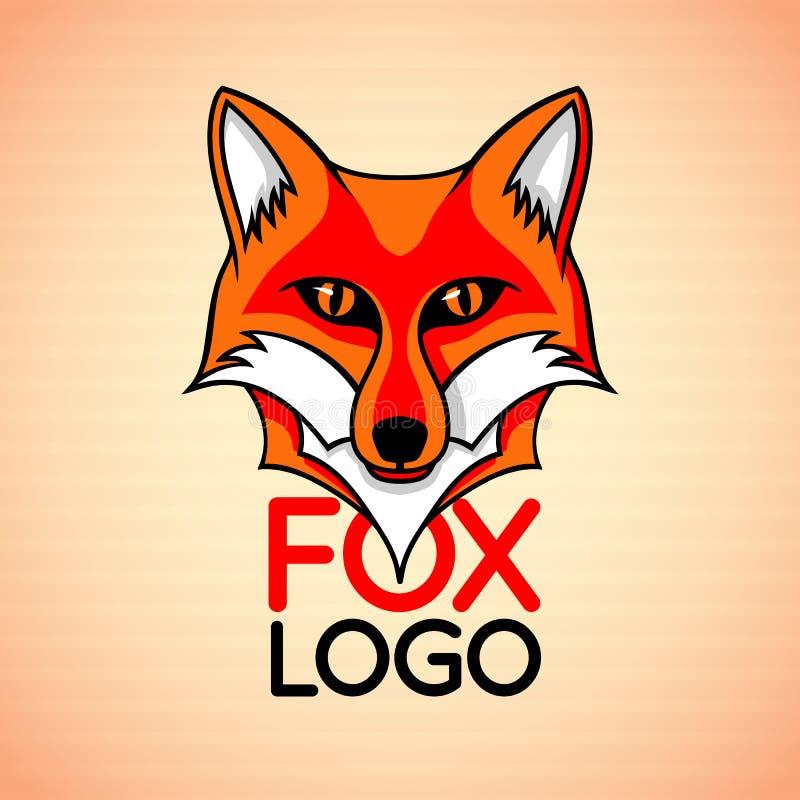 Wektorowy logo, odznaka, szyldowy szablon z czerwonego lisa twarzą ilustracja wektor