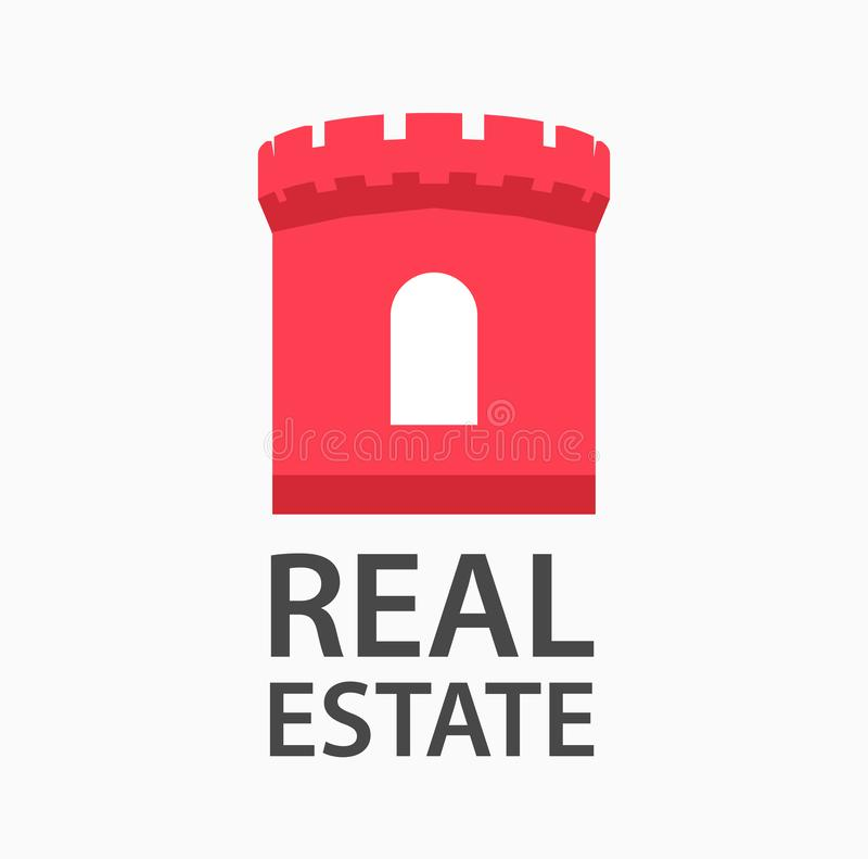 Wektorowy logo projekt dla firmy angażował w nieruchomości Rewolucjonistki wierza kasztel pokazuje niezawodność i zapewnienie royalty ilustracja