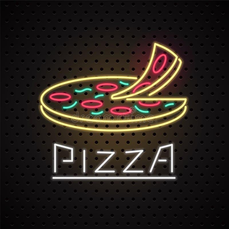 Wektorowy logo, projekta element dla pizzy z neonowym znakiem ilustracja wektor