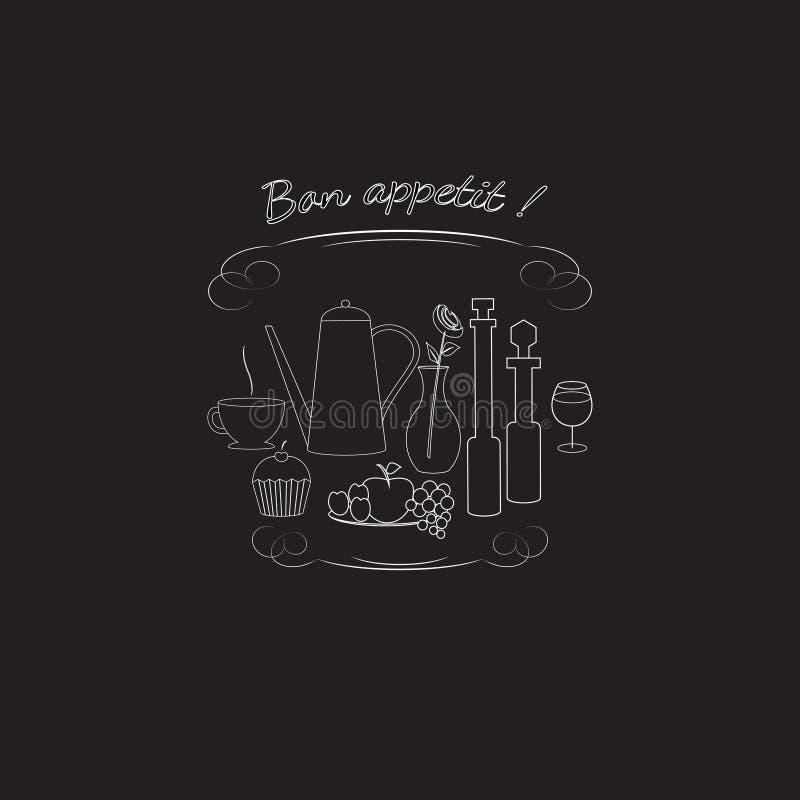 Wektorowy logo z jedzeniem, napojem i inny projektować, menu i signage kawiarnie, bary, restauracje, fotografia stock