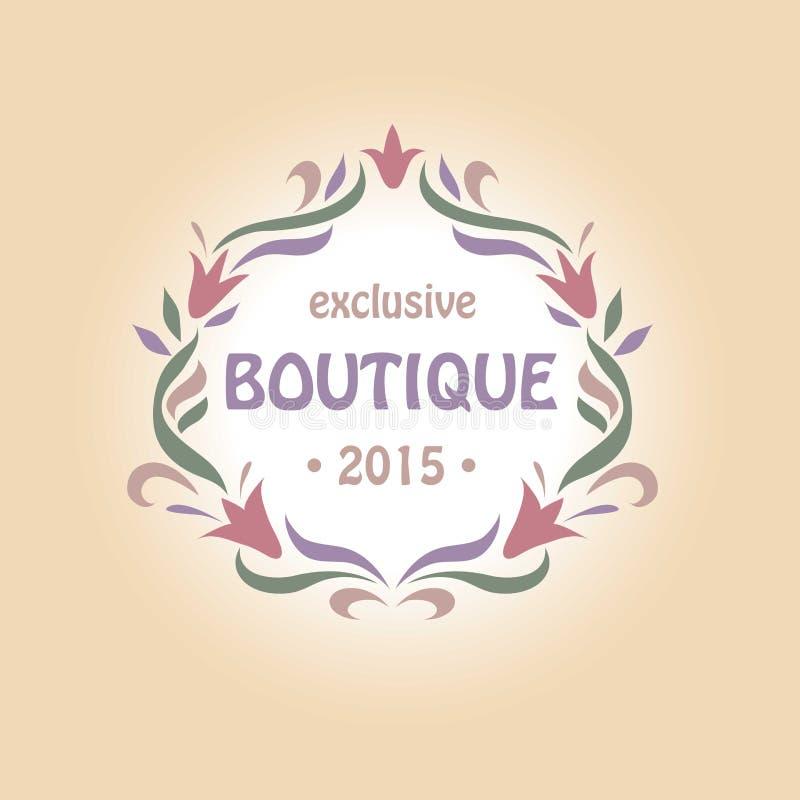 Wektorowy logo z winietą kwiaty butik royalty ilustracja