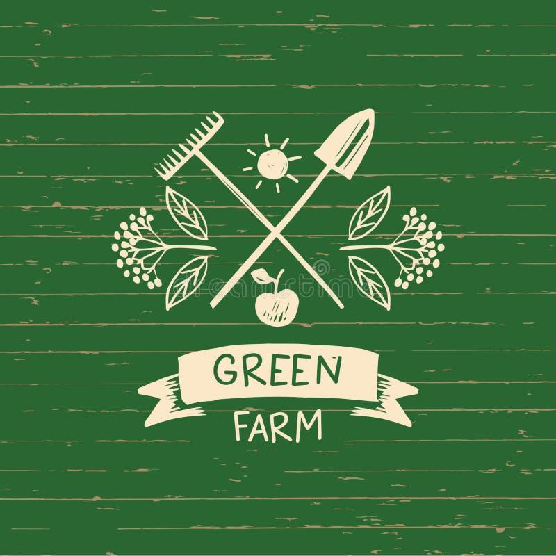 Wektorowy logo zieleni gospodarstwo rolne Nakreślenie dla loga rolnictwa, horticulture ilustracja wektor