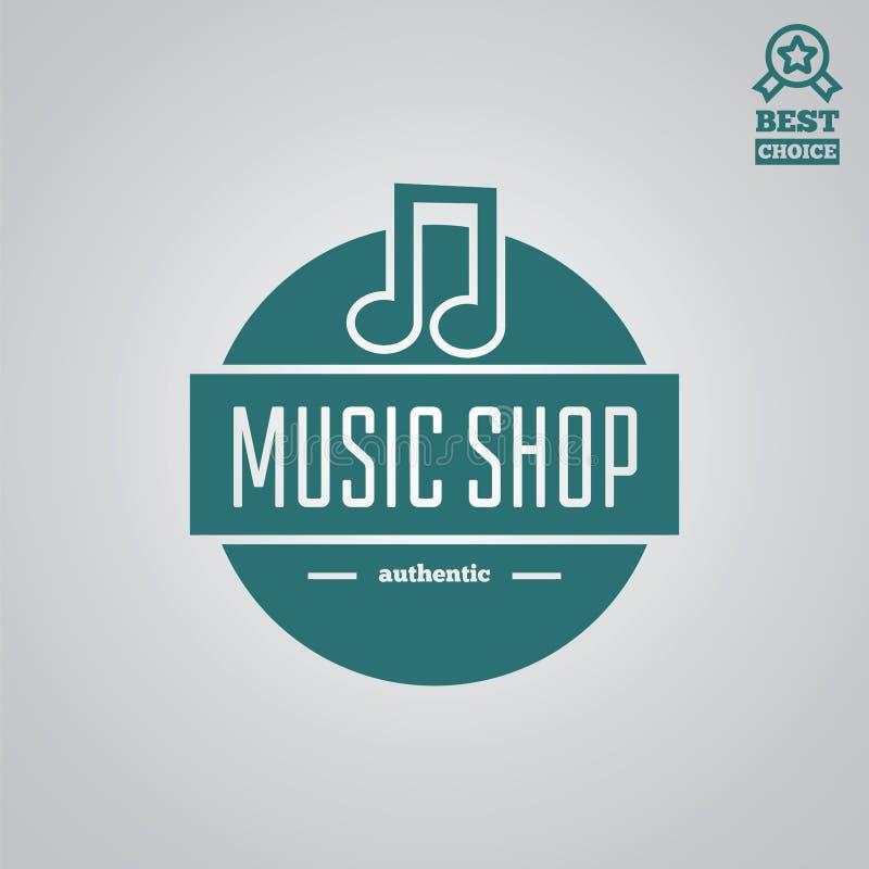 Wektorowy logotypu element, etykietka, odznaka i sylwetka dla muzyki, robimy zakupy ilustracja wektor
