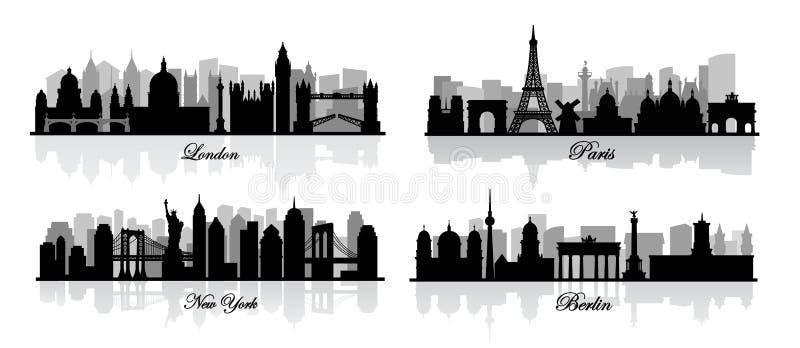 Wektorowy London, nowy York, Berlin i Paris, ilustracja wektor