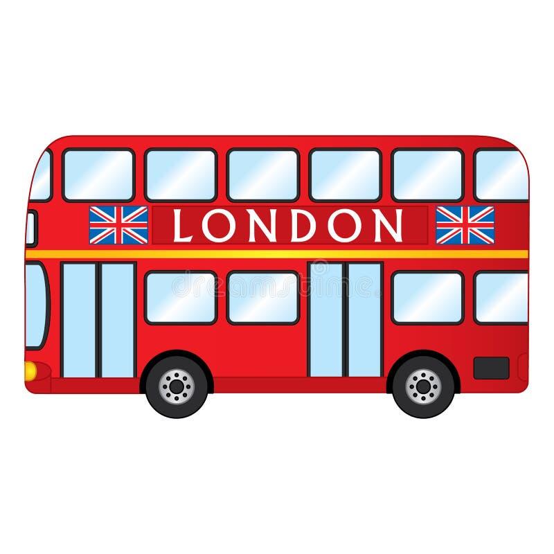 Wektorowy Londyński Czerwony autobus Wektorowy Czerwony Dwoisty Decker ilustracja wektor