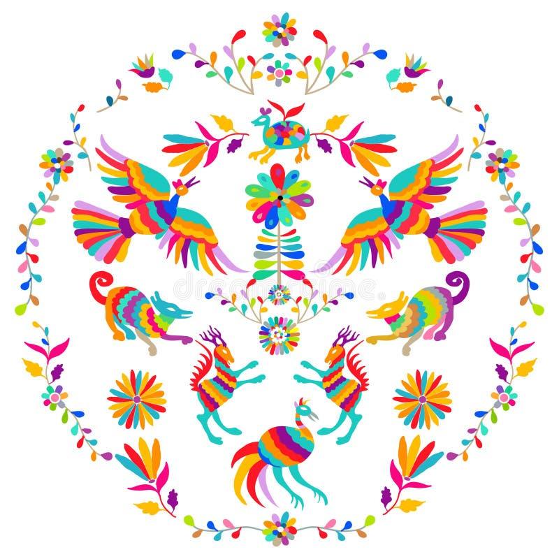 Wektorowy ludowy meksykanina Otomi stylu broderii wzór Ludowy hafciarski ornament ilustracja wektor