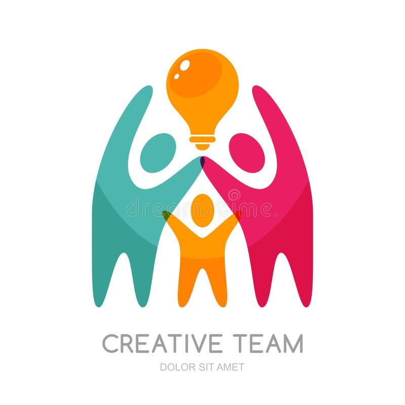 Wektorowy ludzki loga projekt Abstrakcjonistyczni multicolor ludzie i żarówka royalty ilustracja