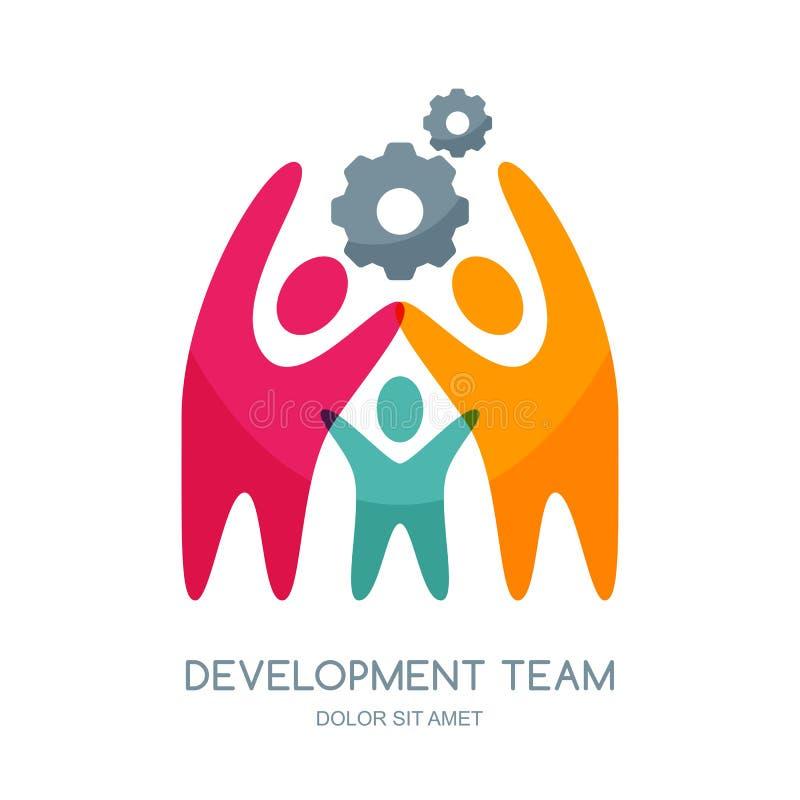 Wektorowy ludzki loga projekt Abstrakcjonistyczni multicolor ludzie i przekładni cog ilustracji