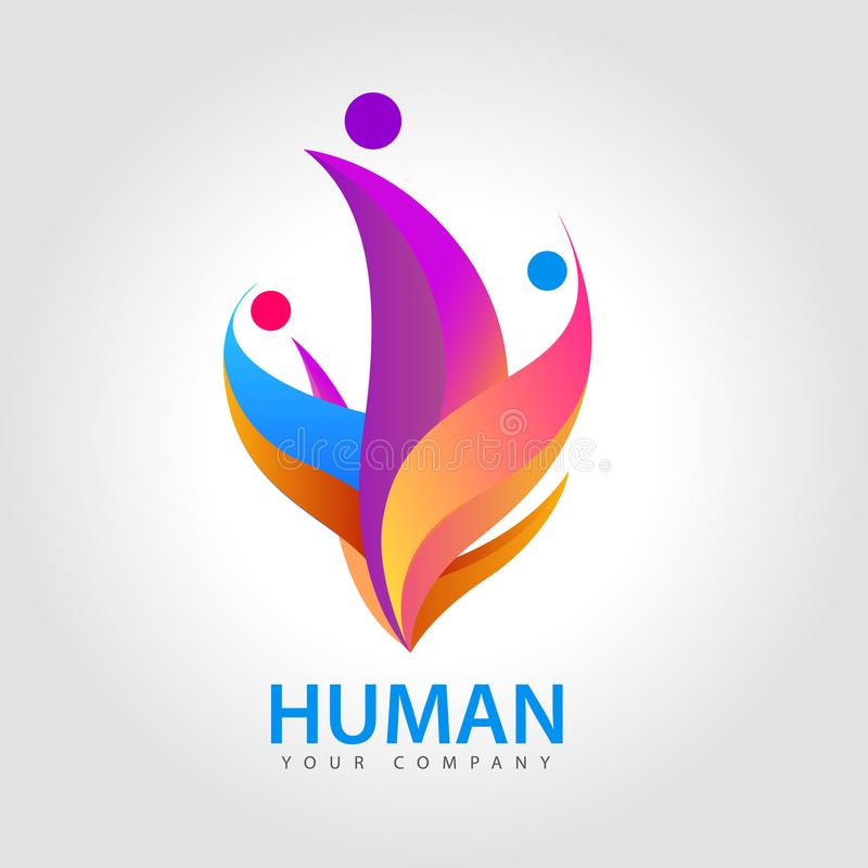 Wektorowy ludzki logo, grupy ludzi kolorowa ikona, praca zespołowa, biznes, ludzki logo ilustracji