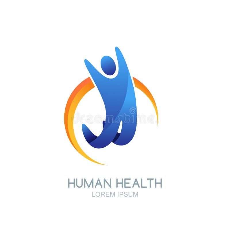 Wektorowy ludzki logo, ikona lub emblemata projekt, Szczęśliwy doskakiwanie mężczyzna przeciw abstrakcjonistycznemu słońcu ilustracji