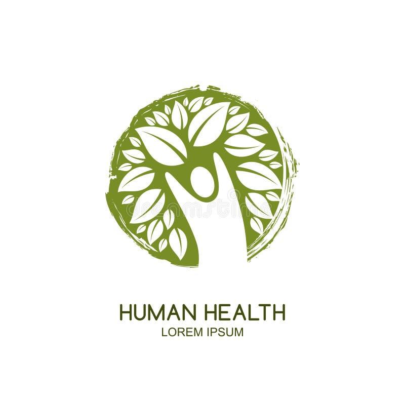 Wektorowy ludzki logo ikony projekt Obsługuje drzewa i zielenieje, akwarela okręgu emblemat Opieka zdrowotna, ekologia, środowisk royalty ilustracja
