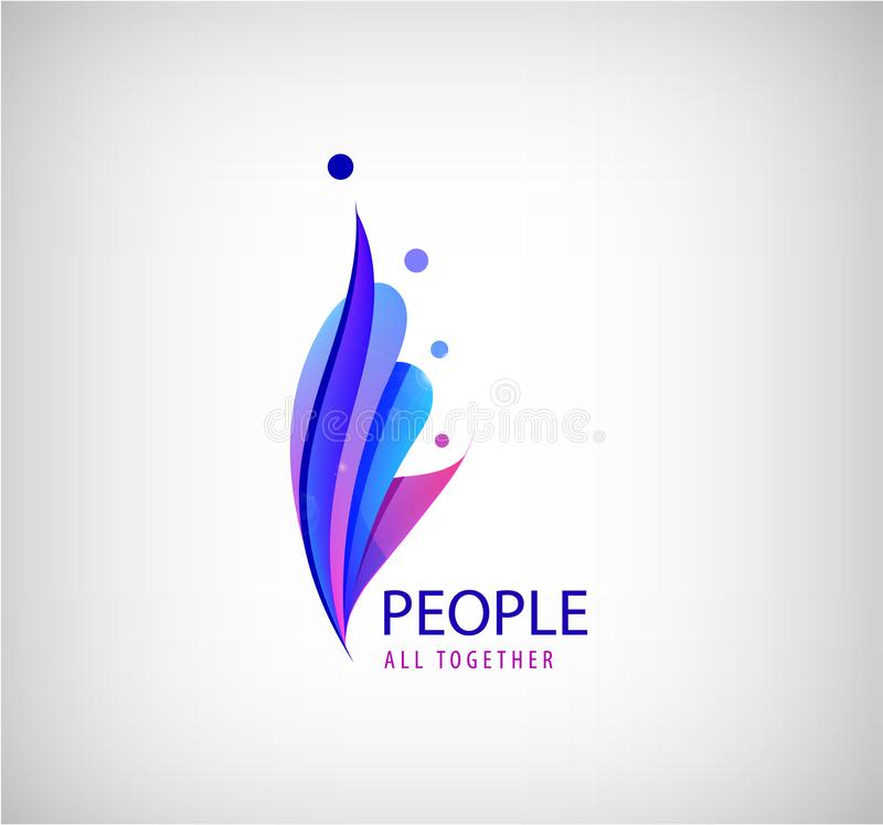 Wektorowy ludzki logo 4 osoby ikony, grupa ludzi wpólnie 3d origami stylizujący znak Socjalny sieć, rodzina, praca zespołowa ilustracja wektor