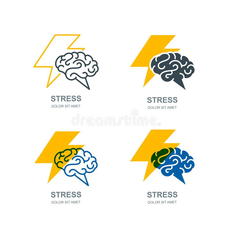Wektorowy ludzkiego mózg i błyskawicy logo, znak Stresu pojęcie Brainstorming i twórczości odosobniona ilustracja royalty ilustracja