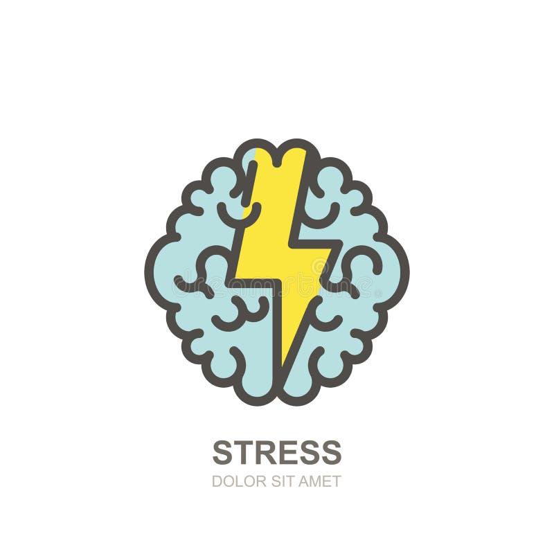 Wektorowy ludzkiego mózg i błyskawicy logo, znak Stresu pojęcie Brainstorming i twórczości odosobniona ilustracja ilustracji