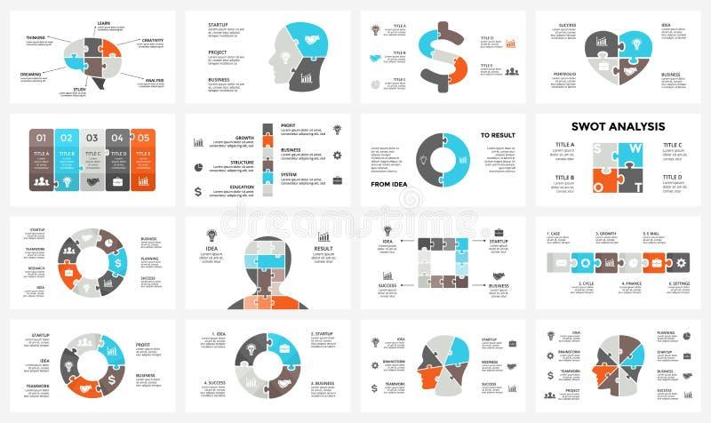 Wektorowy móżdżkowy infographic Szablon dla ludzkiej głowy diagrama, wiedza wykres, neural sieci prezentacja i twarz, sporządzamy royalty ilustracja