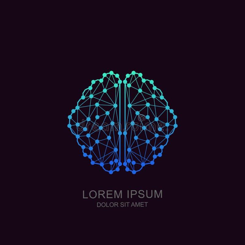 Wektorowy móżdżkowy logo, ikona, emblemata projekt Pojęcie dla neural sieci, sztuczna inteligencja, edukacja, nowoczesna technolo ilustracji