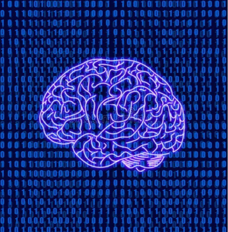 Wektorowy mózg na Matrycowym dane Binarnego kodu tle, Móżdżkowa ilustracja, Neonowa ikona ilustracja wektor