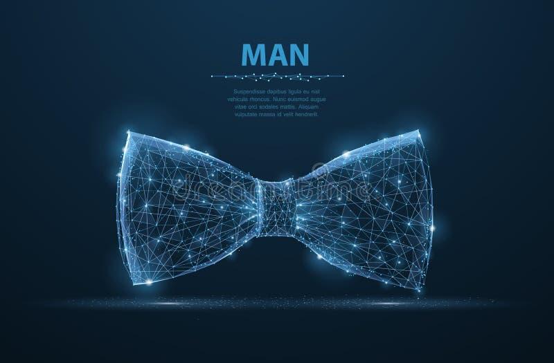Wektorowy mężczyzna krawat Abstrakcjonistycznego projekta męskiego kostiumu krawata łęku sukienna ilustracja na zmroku - błękitny royalty ilustracja