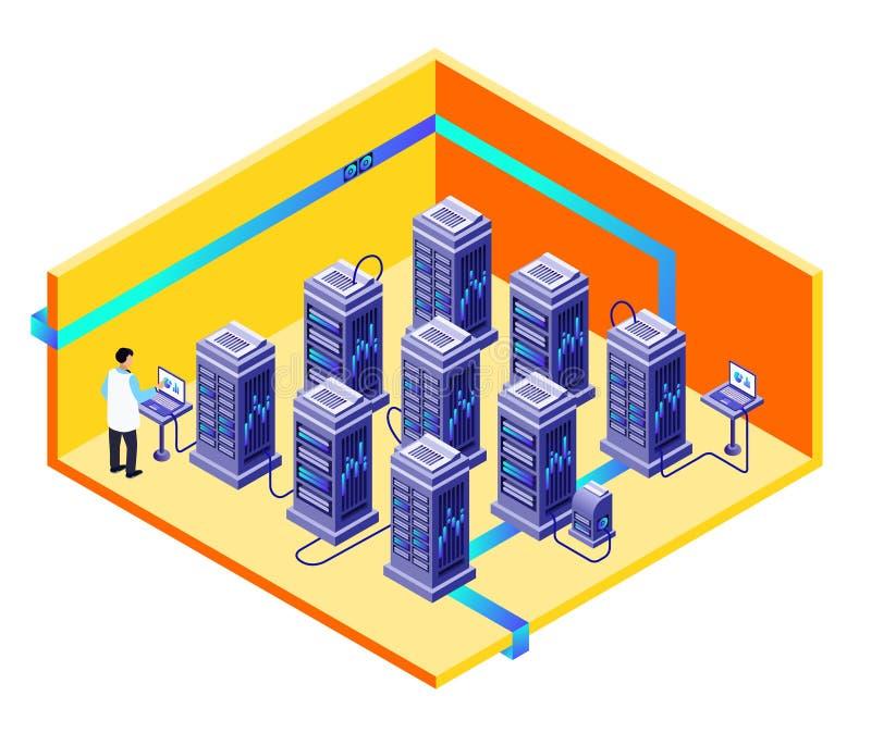 Wektorowy mężczyzna przechowywania danych centrum utrzymanie ilustracja wektor