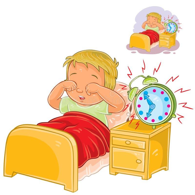 Wektorowy małe dziecko budził się up w ranku ilustracji