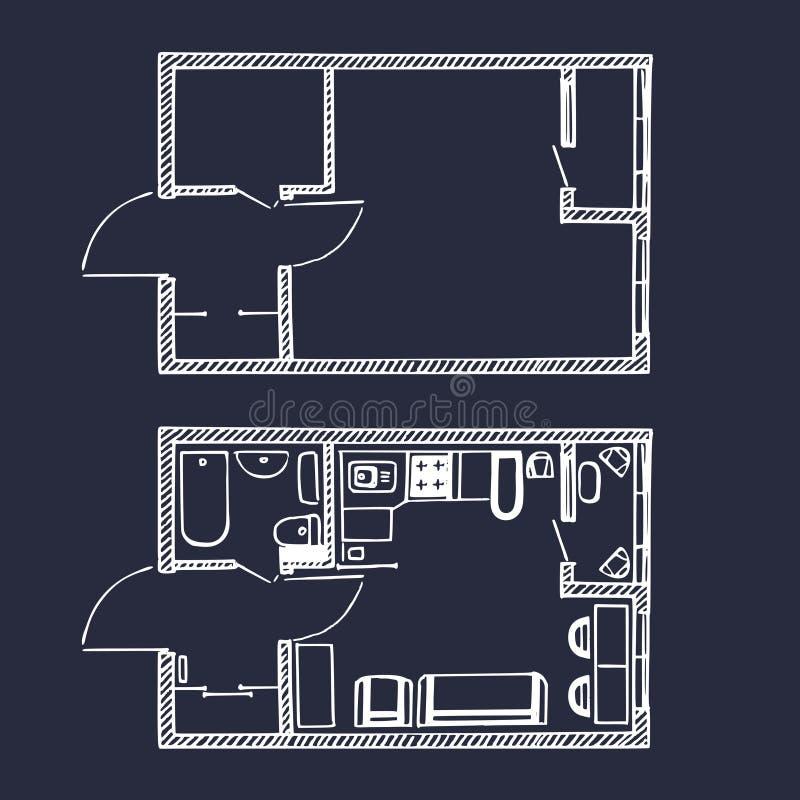 Wektorowy mały mieszkania ` s podłogowy plan w nakreślenie stylu Pokoju odgórny widok z i bez meble ilustracja wektor