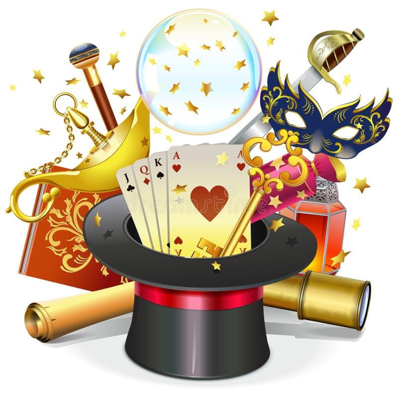 Wektorowy Magiczny pojęcie z kapeluszem royalty ilustracja