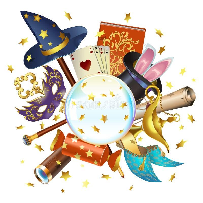 Wektorowy Magiczny pojęcie z kryształową kulą royalty ilustracja