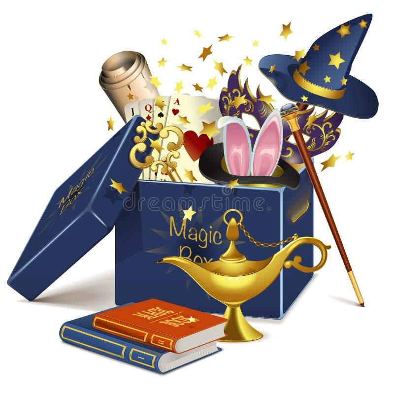 Wektorowy magii pudełko ilustracji
