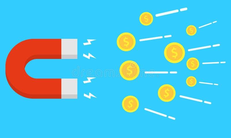 Wektorowy magnes Przyciąganie pieniądze Mieszkanie styl zarabiać pieniądze Magnesowa siła Zysk, dochód ilustracja wektor