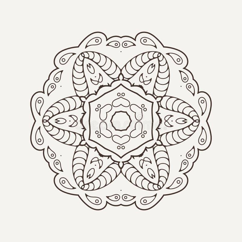 Wektorowy mandala Mehndi koronki tatuaż Orientał wyplata ilustracja wektor