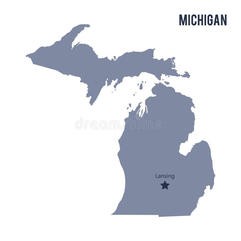 Wektorowy mapa stan Michigan odizolowywał na białym tle royalty ilustracja