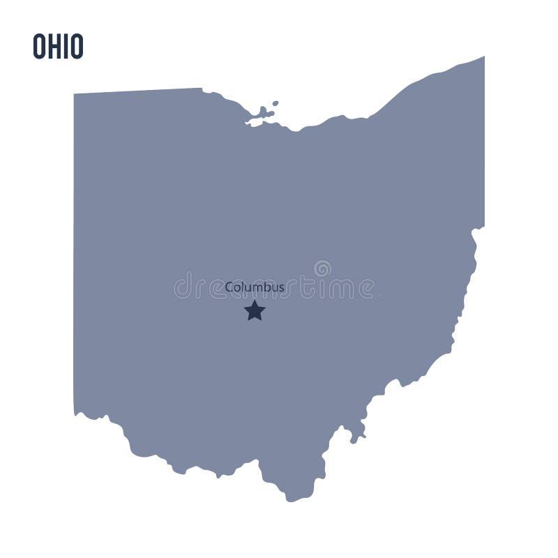 Wektorowy mapa stan Ohio odizolowywał na białym tle royalty ilustracja