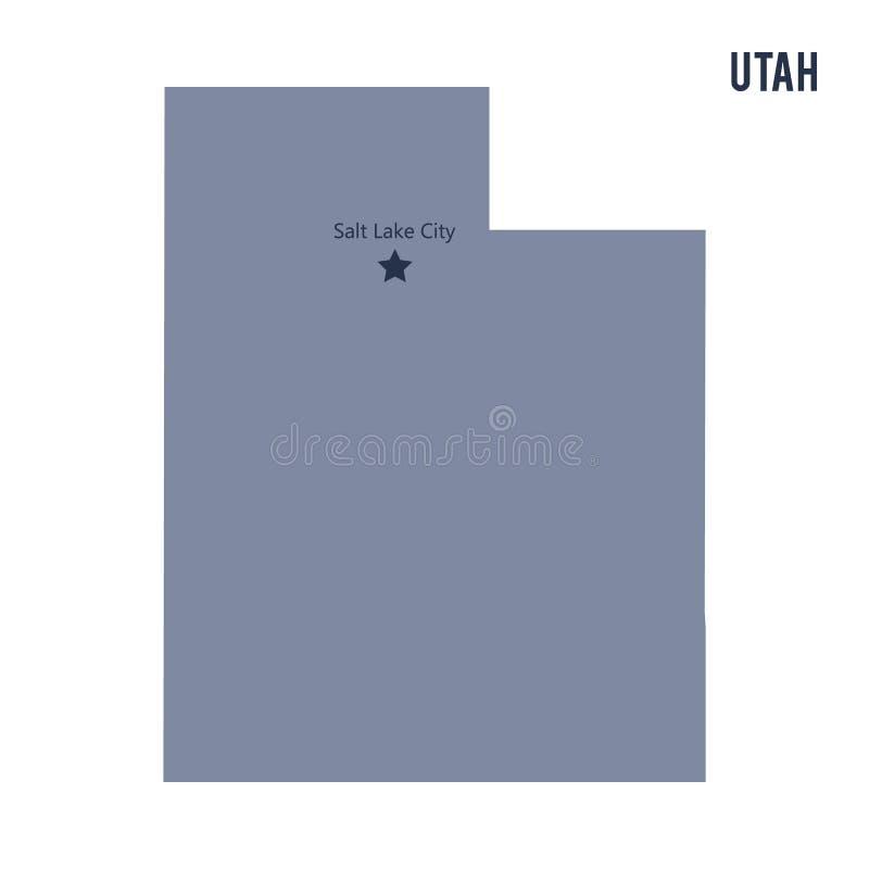 Wektorowy mapa stan Utah odizolowywał na białym tle royalty ilustracja