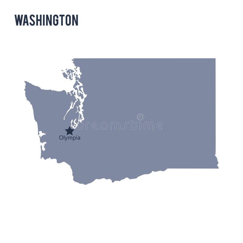 Wektorowy mapa stan Waszyngton odizolowywał na białym tle ilustracja wektor