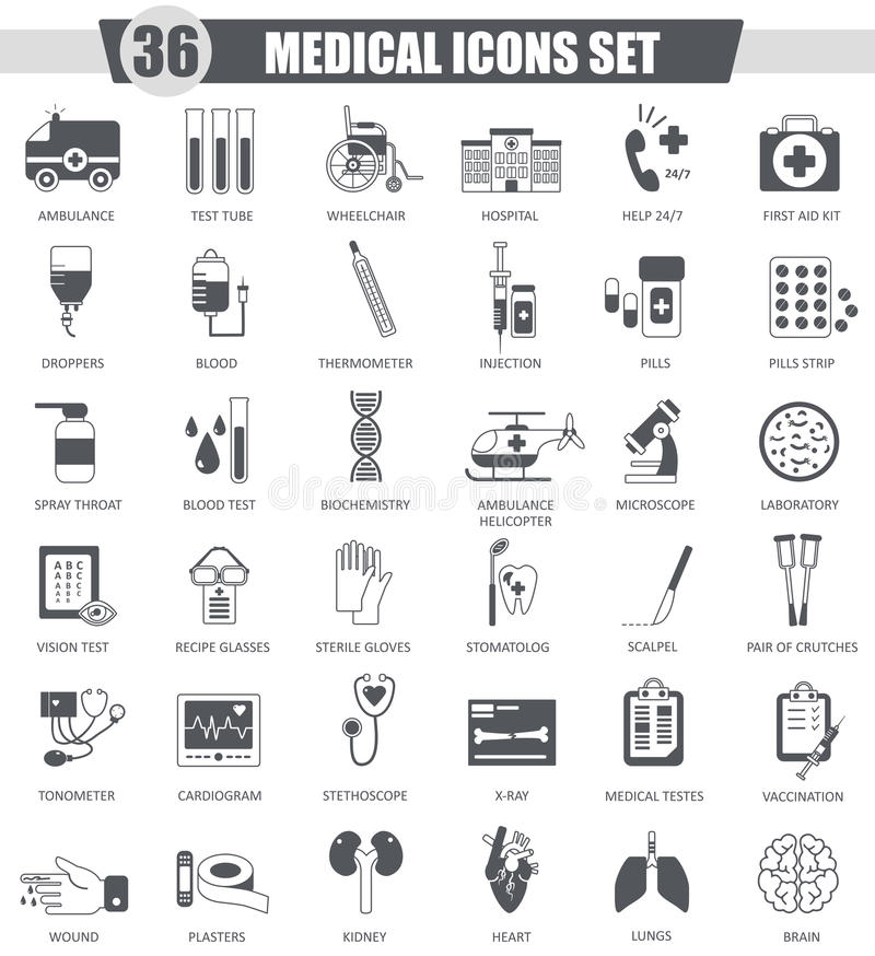Wektorowy Medyczny czarny ikona set Zmrok ikony popielaty klasyczny projekt dla sieci royalty ilustracja