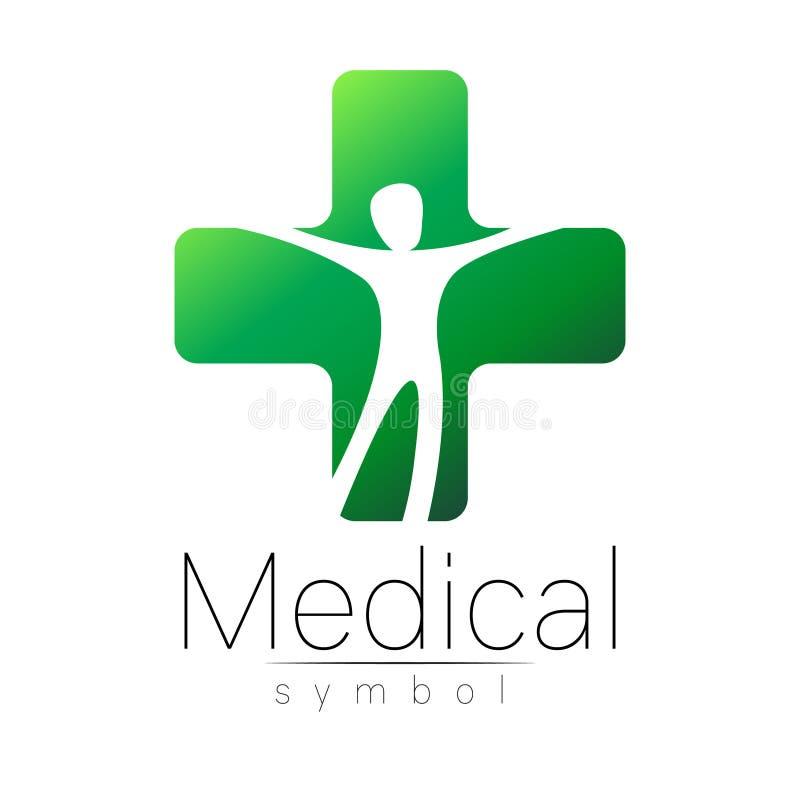 Wektorowy medyczny znak z krzyżem, istota ludzka inside Symbol dla lekarek, strona internetowa, wizyty karta, ikona Zielony Kolor ilustracja wektor