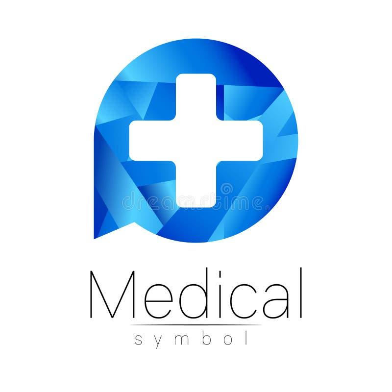 Wektorowy medyczny znak z krzyżem Symbol dla lekarek, strona internetowa, wizyty karta, ikona Błękitny kolor Medycyny nowożytny p royalty ilustracja