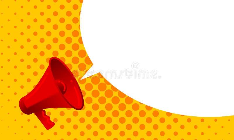 Wektorowy megafon ogłasza z krzyczącą głośną bąbel wiadomością Czerwonego głośnika ostrzeżenia propagandowa wiadomość lub promo r ilustracja wektor