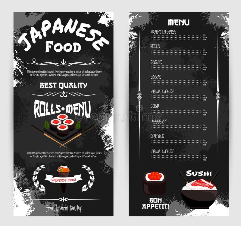 Wektorowy menu dla Japońskiej suszi restauraci ilustracji