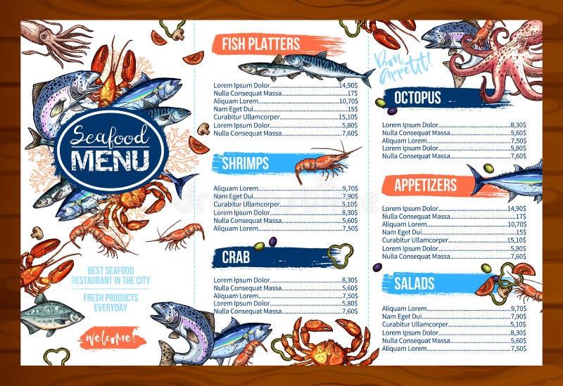 Wektorowy menu dla owoce morza lub ryba owoce morza restauraci ilustracja wektor