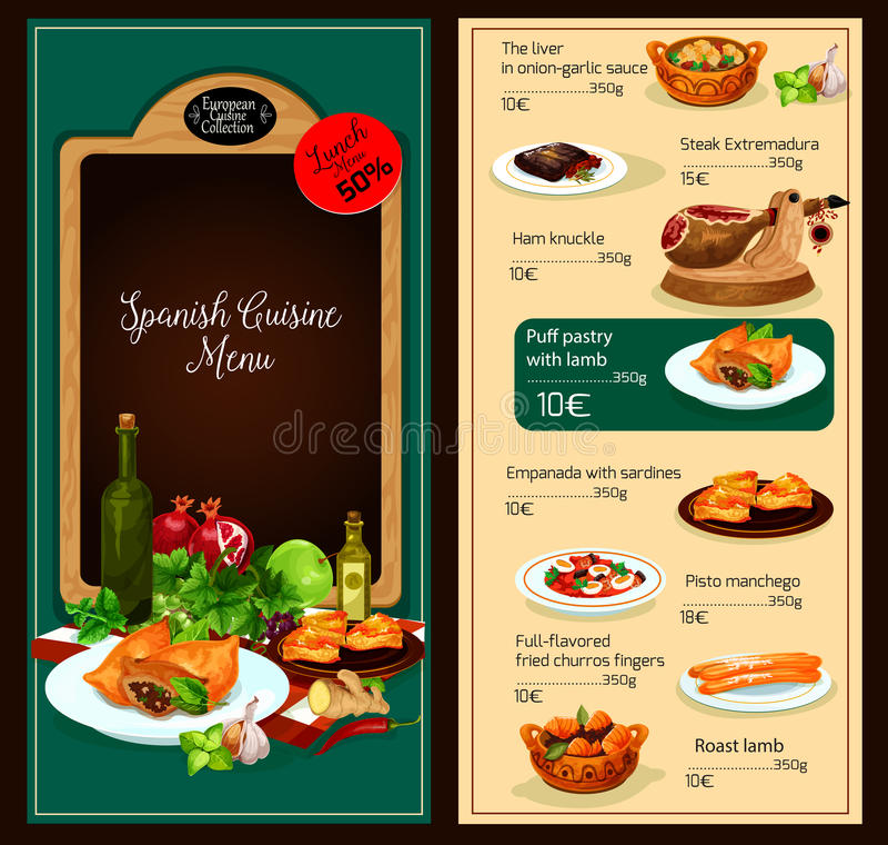 Wektorowy menu szablon Hiszpańska kuchni restauracja ilustracji